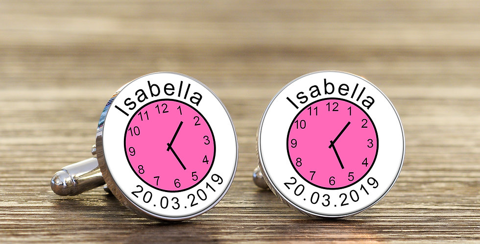 Name Time and Date Cufflinks -Pink