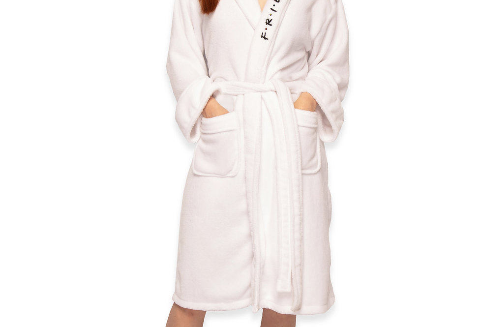 Friends Central Perk Ladies Robe White Front View