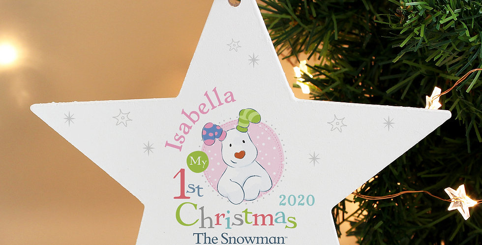Personalised The Snowman and the Snowdog My 1st Christmas Pink Wooden Star