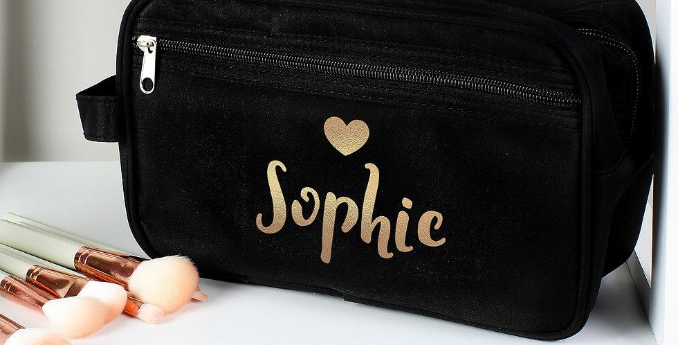 Personalised Black Vanity Bag