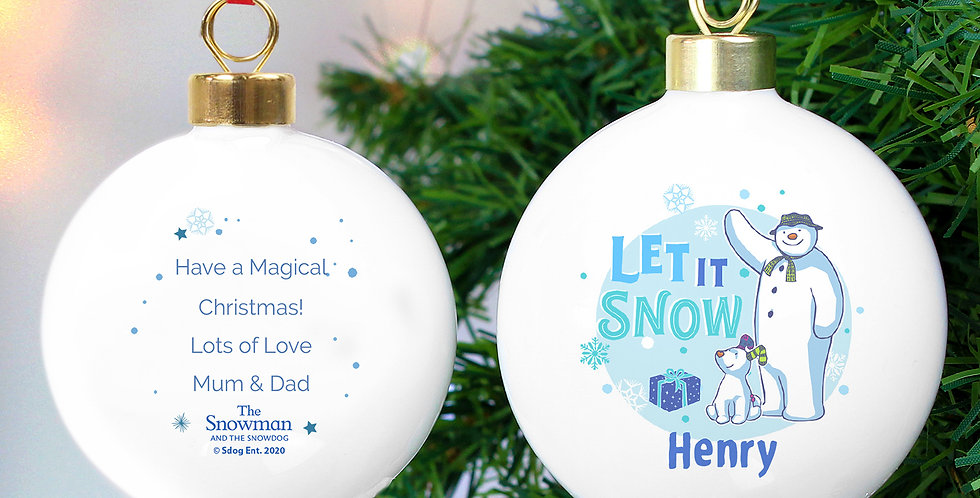 Personalised The Snowman and the Snowdog Blue Bauble