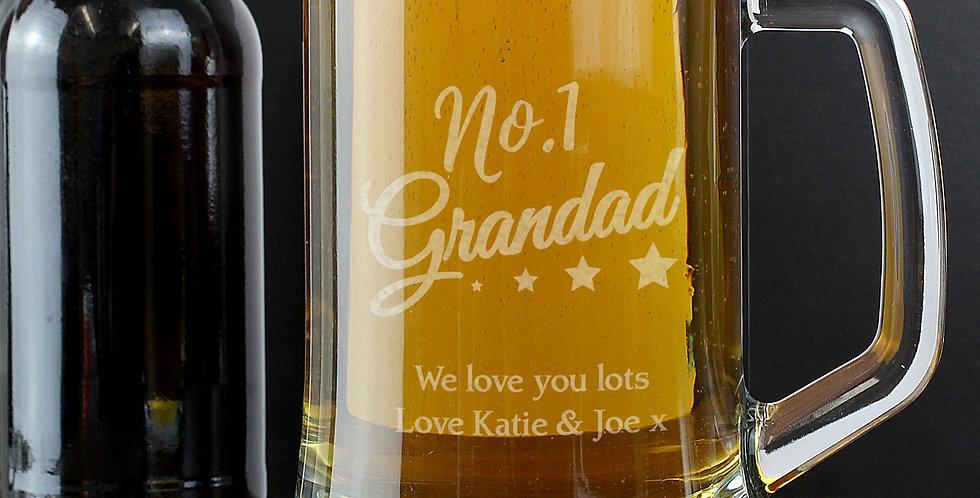 No.1 Grandad Glass Pint Stern Tankard