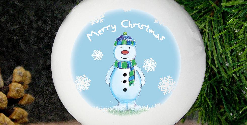 Personalised Snow Scene Snowman Bauble