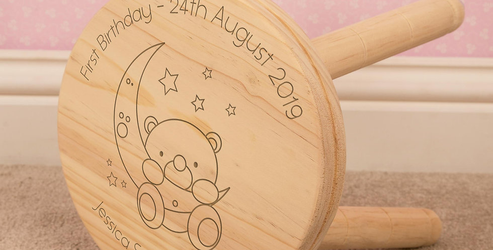 Baby Bear and Moon Child Wooden Stool