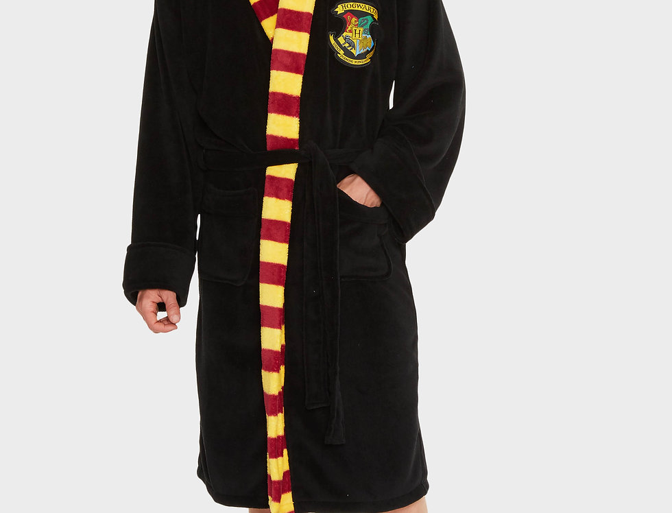 Hogwarts Harry Potter Mens Black Fleece Robe with Scarf Detail