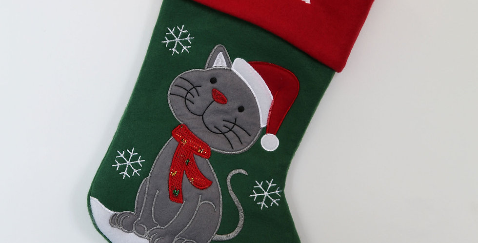 Embroidered Pet Cat Christmas Stocking