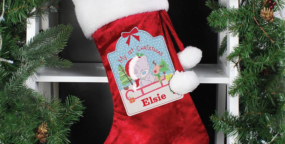 Personalised Tiny Tatty Teddy My 1st Christmas Luxury Red Stocking