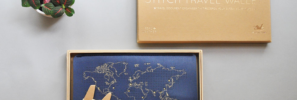 Stitch Leather Travel Wallet