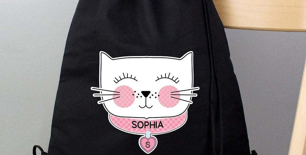 Cute Cat Black Swim and Kit Bag