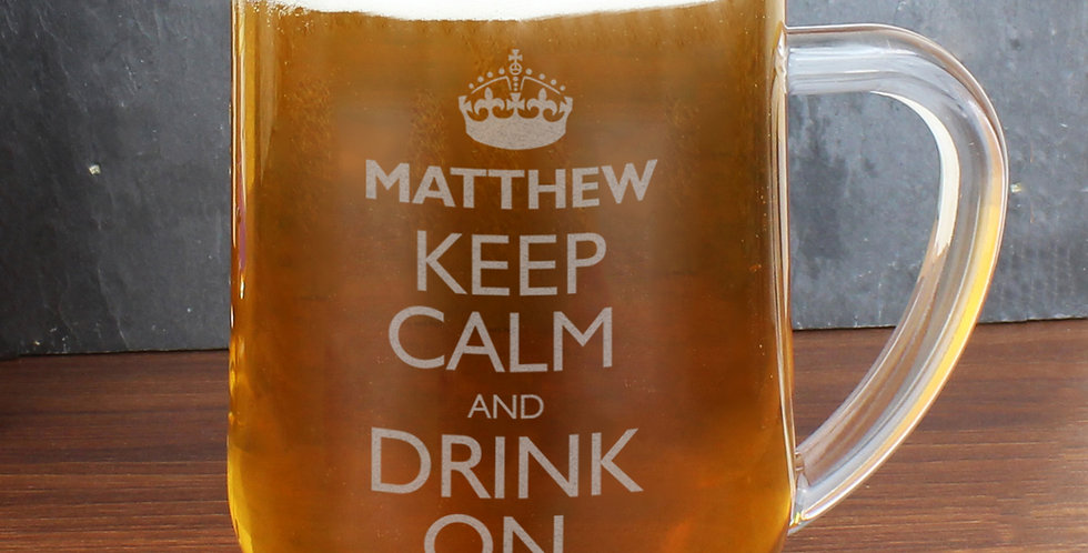 Personalised Keep Calm Engraved Beer Tankard