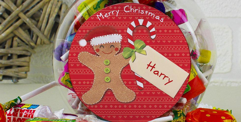 Personalised Felt Stitch Gingerbread Man Sweet Jar