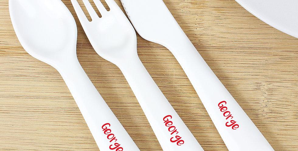 Personalised Christmas Toadstool Santa 3 Piece Plastic Cutlery Set