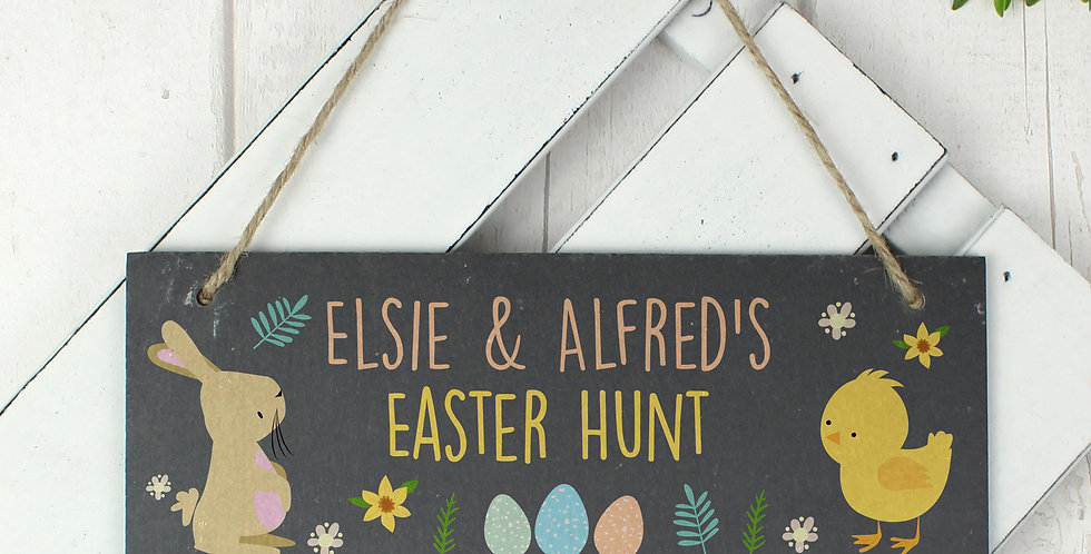 Personalised Easter Bunny & Chick Slate Door Plaque