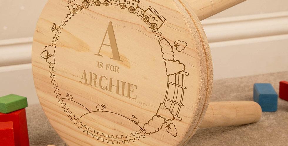 Personalised Engraved Boy Alphabet Wooden Stool