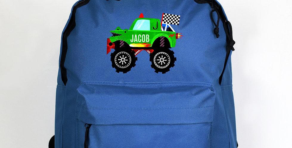 Monster Truck Blue Backpack