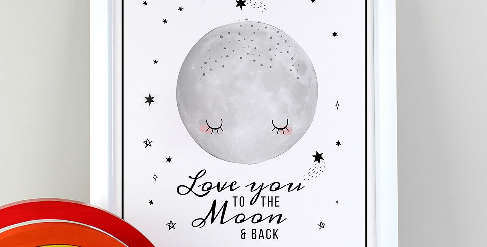 Love You to the Moon and Back White Framed Print