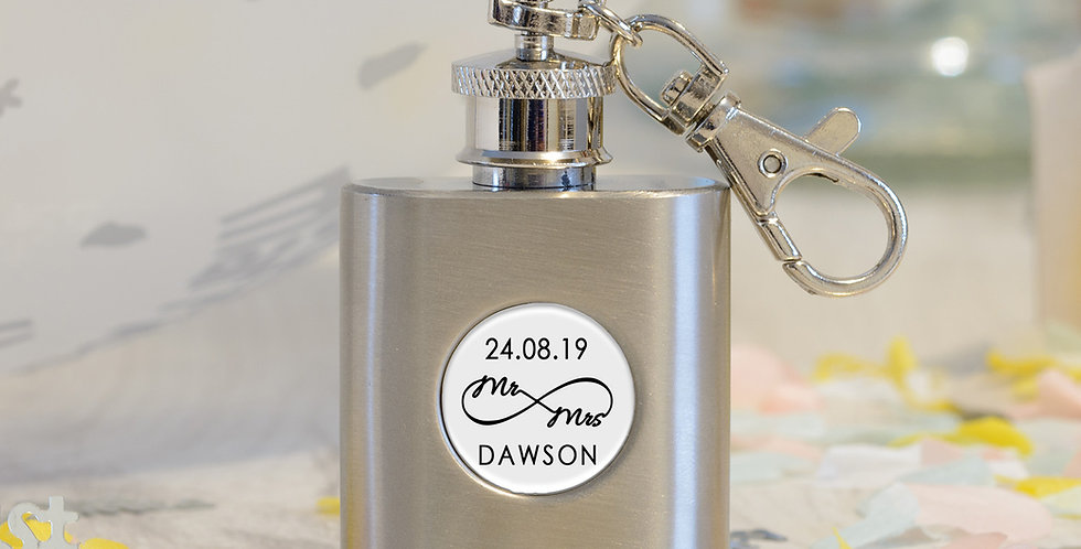 1oz S/Steel Mr & Mrs Hip Flask Key Ring