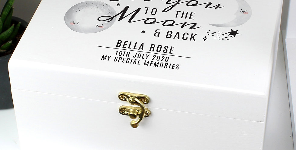 Baby Love You to the Moon and Back White Wooden Keepsake Box