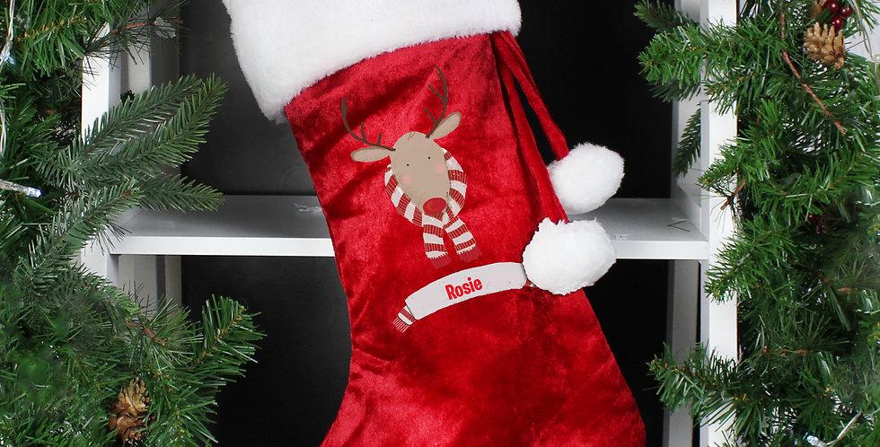Personalised Retro Reindeer Luxury Red Stocking