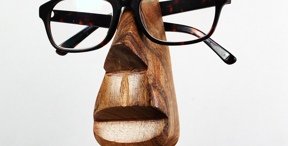 Wooden Nose-Shaped Glasses Holder