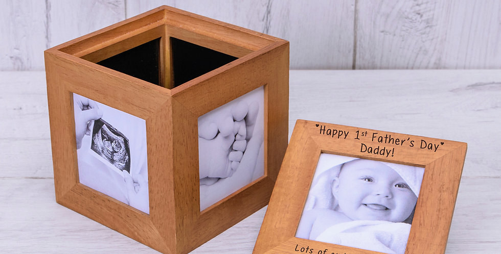 Happy 1st Father's Day Oak Photo Cube