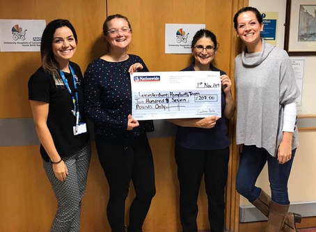 Body to Baby hand over £207 to Leicestershire Home Birth Team!