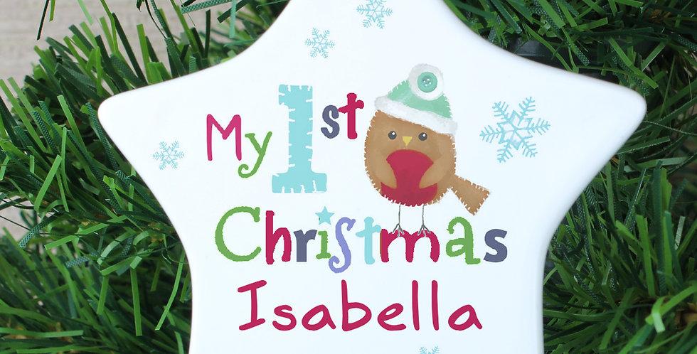 Personalised Felt Stitch Robin 'My 1st Christmas' Ceramic Star Decoration