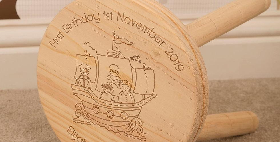 Kids Pirate Ship Wooden Stool