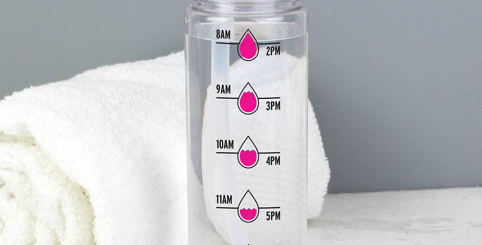 Pink 'Hydration Tracker' Island Water Bottle