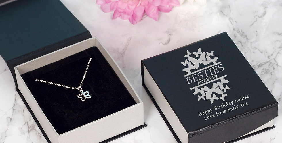 Besties Forever Butterfly Pendant and Chain