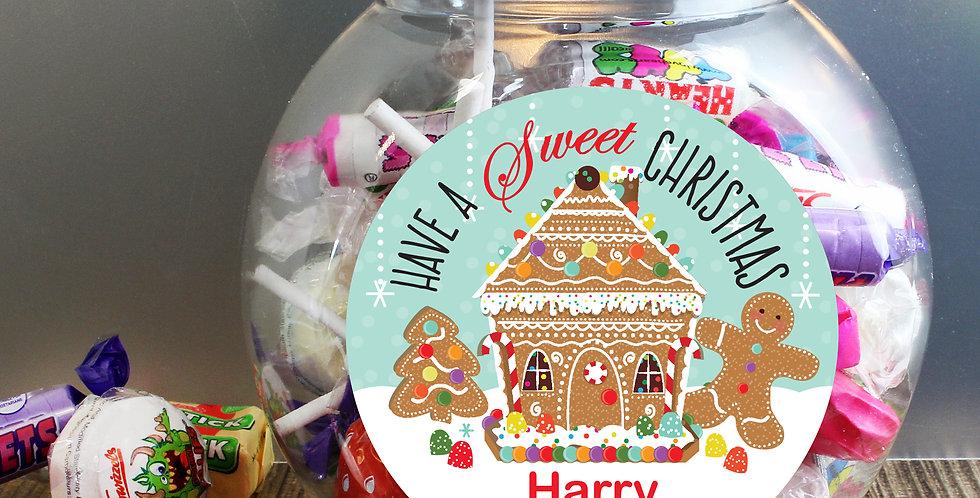 Personalised Gingerbread House Sweet Jar