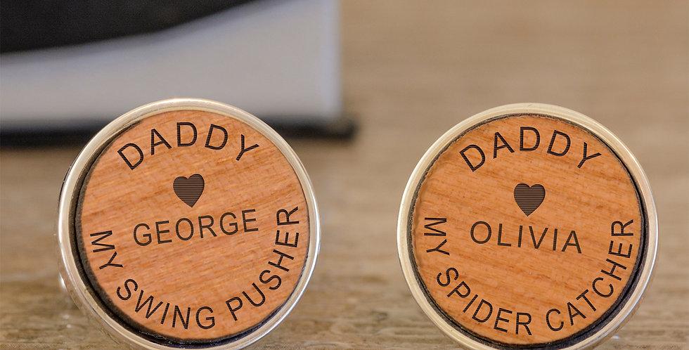 Daddy Cufflinks - Cherry Wood