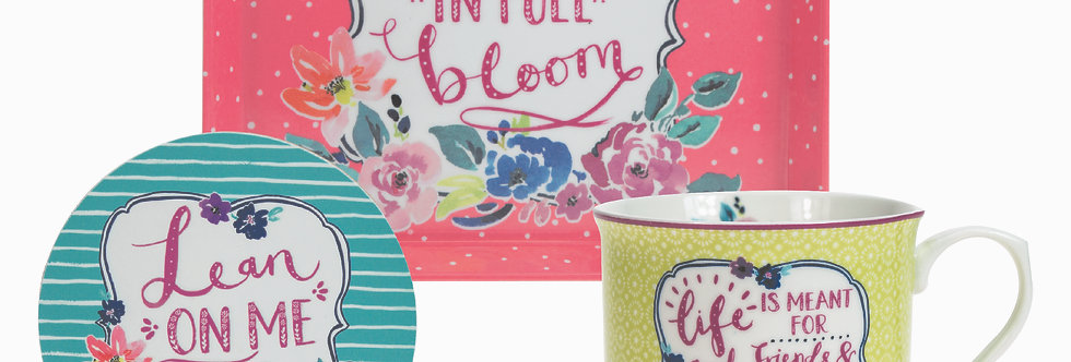 Ashley Thomas Collection - Full Bloom Mug, Coaster and Tray Set