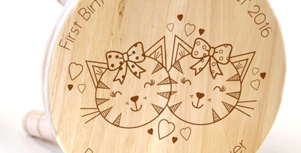 Cute Cats Wooden Stool