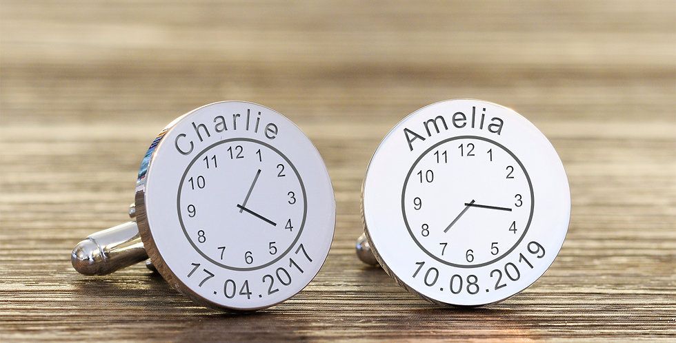 Name Time and Date Cufflinks
