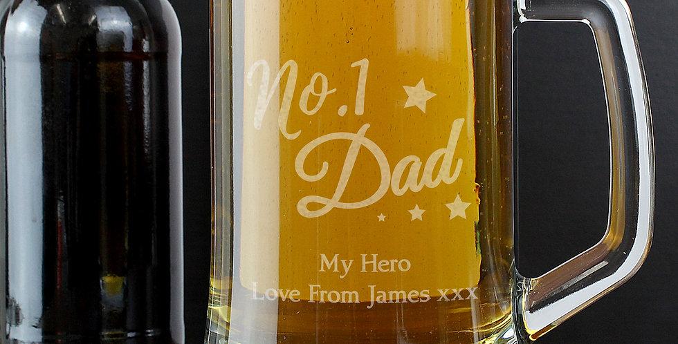 No.1 Dad Glass Pint Stern Tankard
