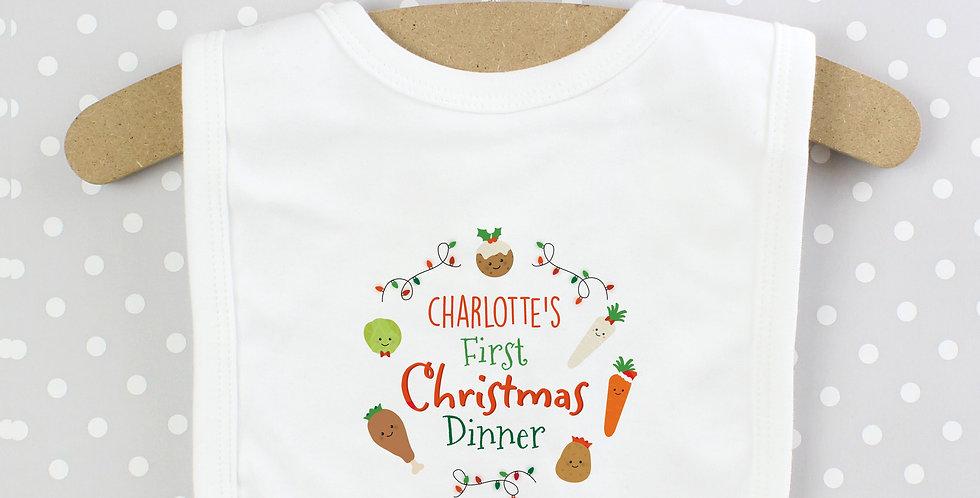 Personalised 'First Christmas Dinner' Bib