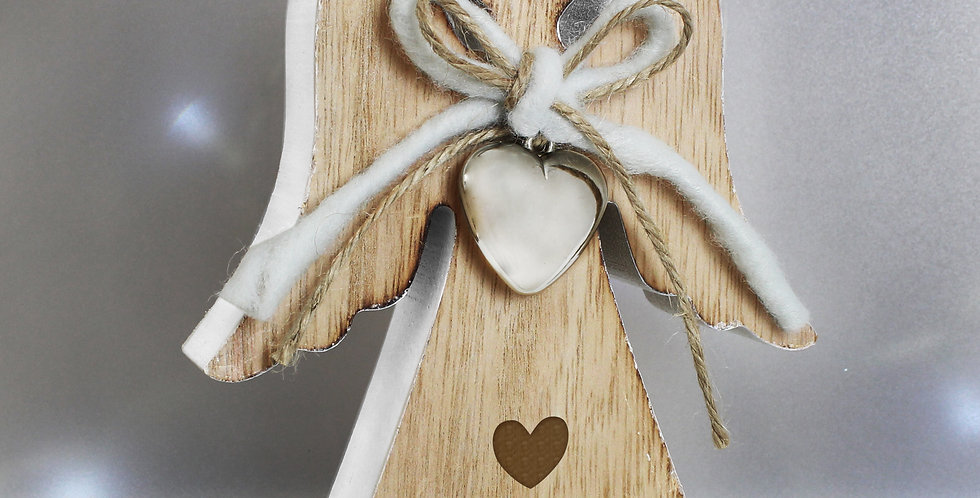 Personalised Heart Motif Rustic Wooden Angel