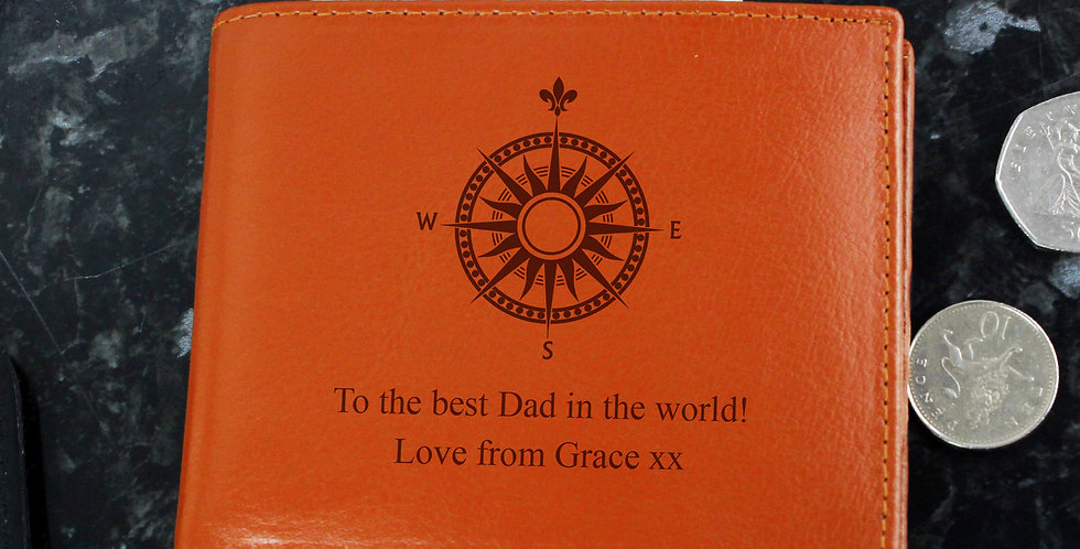 Compass Tan Leather Wallet