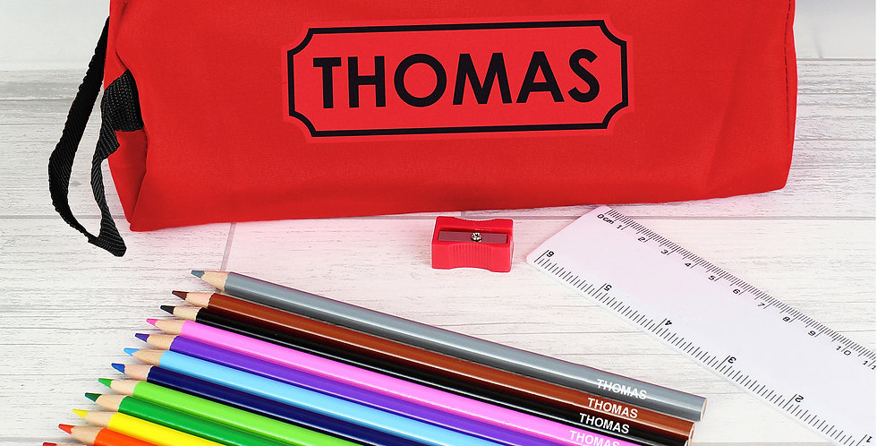 Red Pencil Case with Personalised Pencils & Crayons