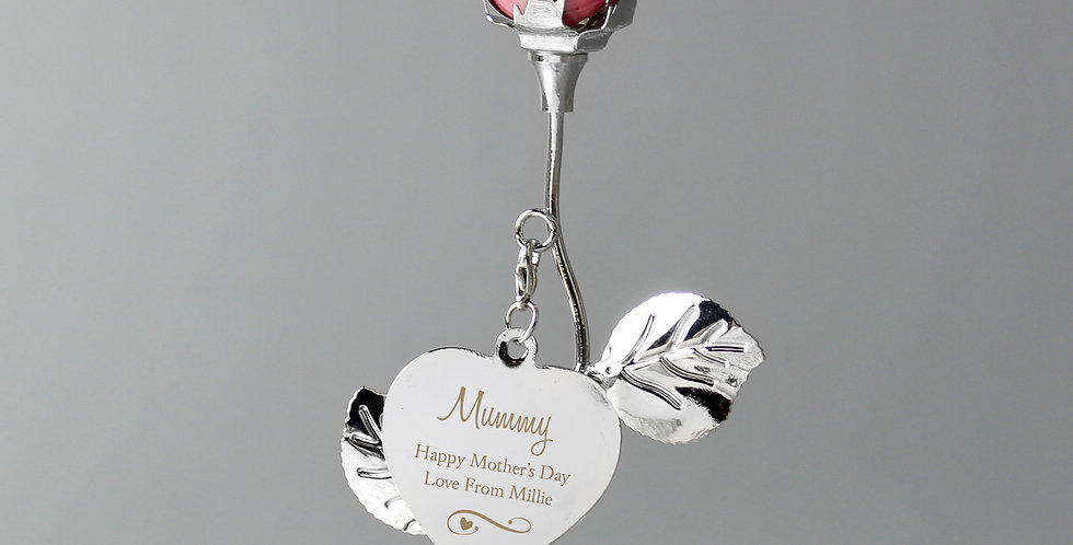 Personalised Swirls & Heart Pink Rose Bud Ornament