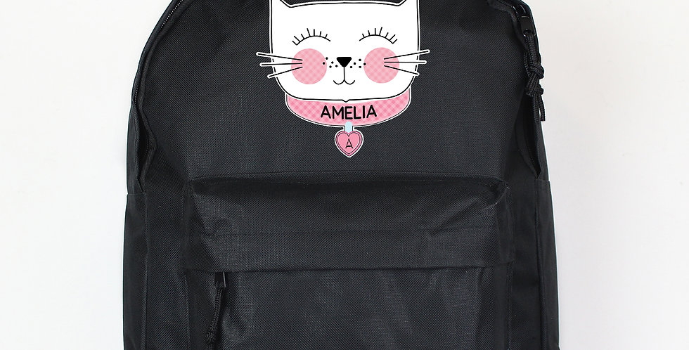 Cute Cat Black Backpack