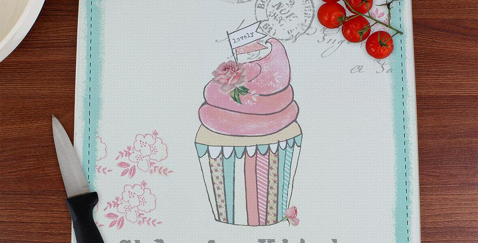 Personalised Vintage Pastel Cupcake Glass Chopping Board/Worktop Saver