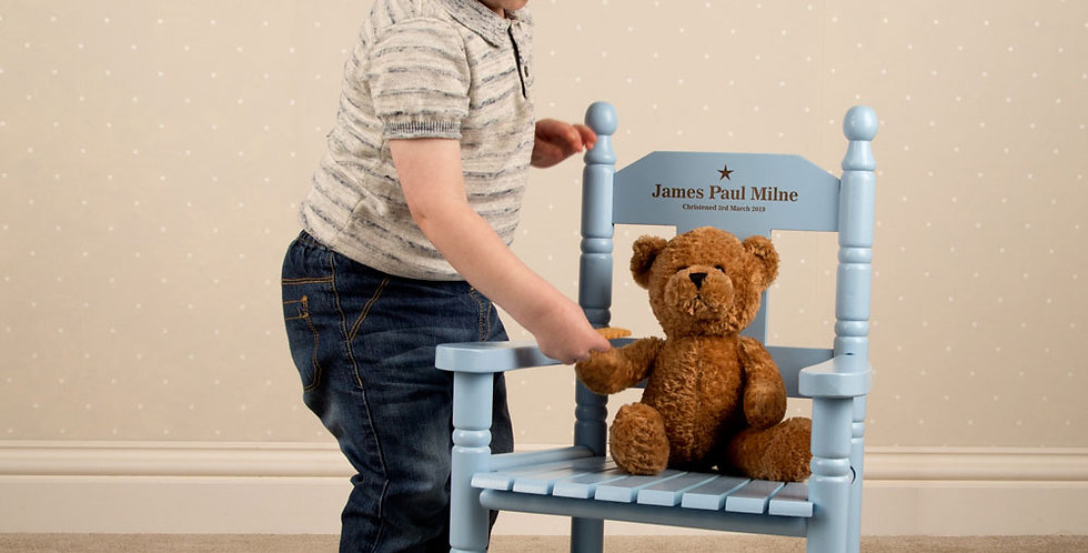 Baby Boy Engraved Blue Rocking Chair