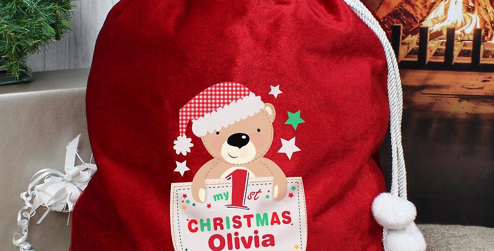 Personalised Pocket Teddy My 1st Christmas Luxury Pom Pom Red Sack