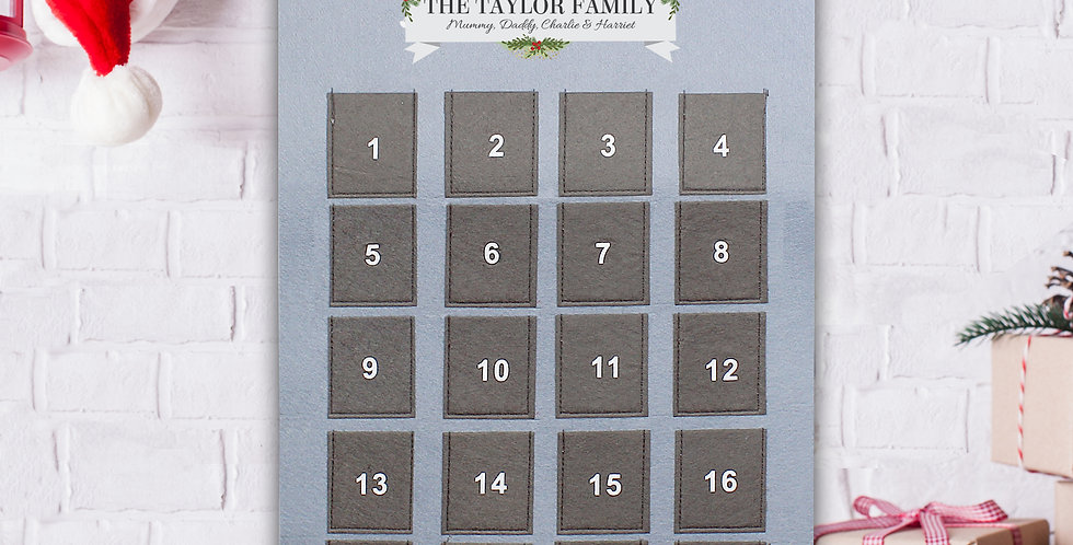 Personalised Nutcracker Advent Calendar In Silver Grey