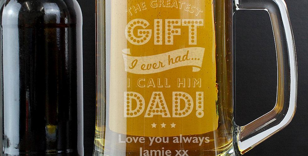 Greatest Dad Glass Pint Stern Tankard
