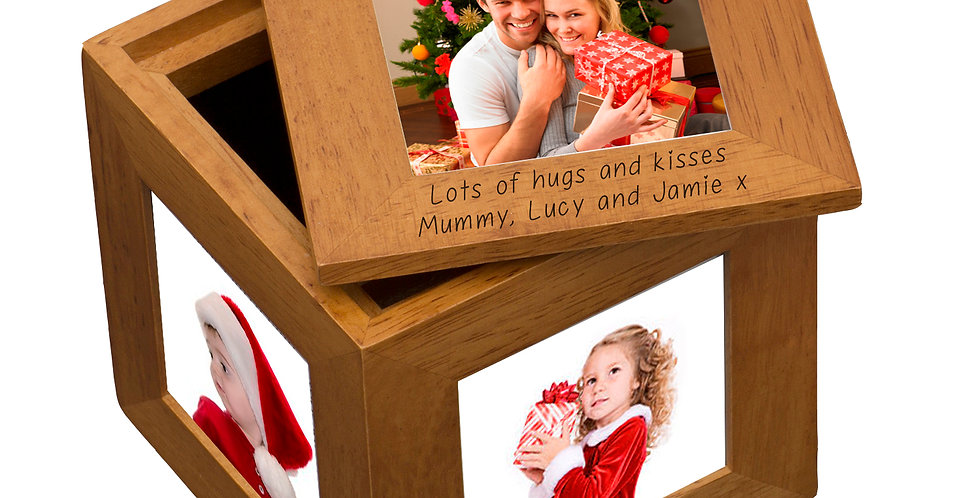 With Love At Christmas Oak Photo Cube