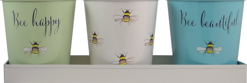 Bee Happy Painted Steel 3 Pots with Tray