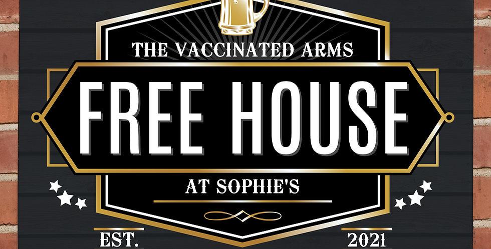 Personalised Free House Black Metal Sign